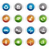 buttons ekologiska glansiga symboler Royaltyfria Bilder