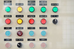 Buttons on electric power controller board Royalty Free Stock Photography