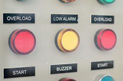 Buttons on electric power controller board Stock Photo