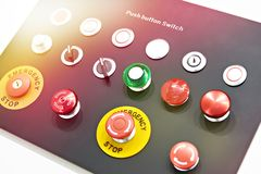 Buttons for electrical control panels. Buttons for control panels for electrical equipment royalty free stock photo