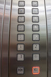 Buttons in elevator, one to twelve Stock Image