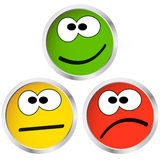 Buttons with emotion faces Stock Images