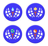 Buttons environmental protection and recycling, yin yang Royalty Free Stock Images