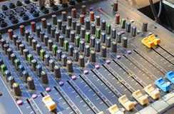 The buttons equipment for sound mixer control Royalty Free Stock Images