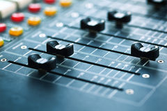 Buttons equipment for sound mixer control Royalty Free Stock Photo