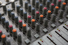 Buttons equipment for sound mixer control Royalty Free Stock Photos