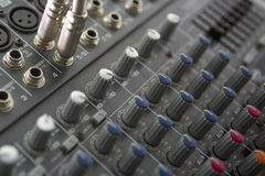 Buttons equipment for sound mixer control Stock Photo
