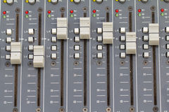 Buttons equipment for sound mixer control. select focus Stock Photography
