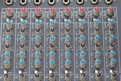 Buttons equipment for sound mixer control. select focus Royalty Free Stock Image