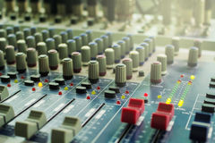 Buttons equipment for sound mixer control. Selective focus Royalty Free Stock Photography