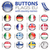 Buttons with EU Flags. Three Dimensional Buttons with Country Flags for European Union (EU), vector illustration Royalty Free Stock Images