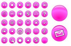 buttons exponeringsglaspink Royaltyfria Bilder