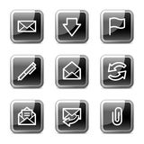 buttons för symbolspost för e glansig rengöringsduk för serie Arkivfoto
