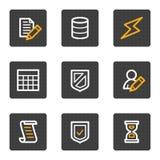 buttons för symbolsserie för databas grå rengöringsduk Arkivbild