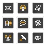 buttons för symbolsserie för kommunikation grå rengöringsduk Arkivbilder