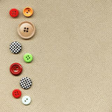 Buttons on fabric Stock Photo