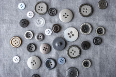 Buttons on the fabric black and white Stock Photo