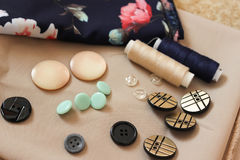 Buttons on fabric Royalty Free Stock Photos