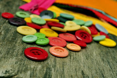 Buttons, fabric and zippers Royalty Free Stock Photography