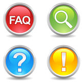 Buttons - faq, saerch, help, attention; royalty free illustration