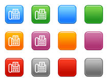 Buttons with fax icon. Vector web icons, color square buttons series Stock Images