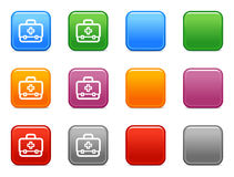 Buttons with first aid icon. Vector web icons, color square buttons series Stock Photo