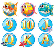 Buttons with fish and letters. Illustration Stock Images