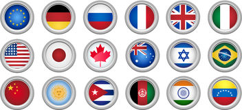 Buttons Flags. Set of 18 buttons for several countries Vector Illustration