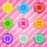 Buttons flowers of bright colours set fo clothing. vector illustration
