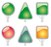 Buttons in the form of trees. Shining buttons in the form of trees Royalty Free Stock Photos