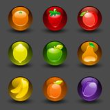 Buttons with fruit dark background with shadow Stock Image