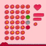 Buttons for game interfaces. On the theme Valentine's day Stock Images
