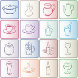 Buttons with gastronomy smallware Stock Photos
