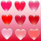 buttons glansig hjärta Fotografering för Bildbyråer