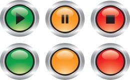 buttons glansiga symboler som trevlig set Royaltyfria Bilder