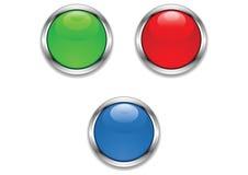 buttons glansigt metalliskt Arkivbilder