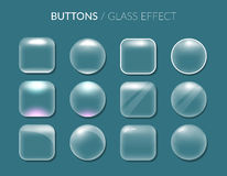 Buttons. Glass effect. Stock Photo