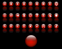 buttons glass red Arkivbild