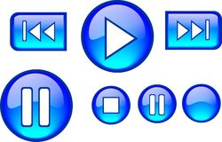 Buttons Glossy Plauer Blue. Illustration of web buttons for audio player Stock Images