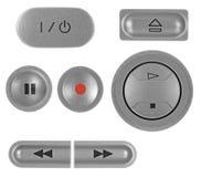 buttons grå isolerad naturlig registreringsapparatsilver för dvd Arkivbilder
