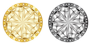 buttons guld- silver Fotografering för Bildbyråer
