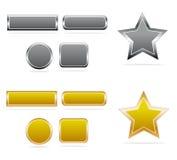 buttons guldsilver Fotografering för Bildbyråer
