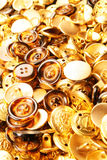 buttons guldtextur Arkivbilder