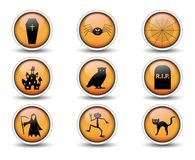 Buttons and Halloween icons set 02 stock illustration