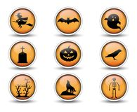 Buttons and Halloween icons set 01 royalty free illustration