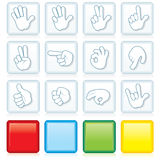 Buttons with Hand Signs Stock Image