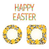 Buttons Happy easter daffodil with willow vector Stock Images