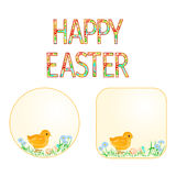 Buttons Happy easter Easter chicks and  Easter eggs  vector Stock Photos