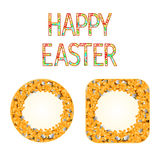 Buttons Happy easter with willow and forsythia vector Royalty Free Stock Photo