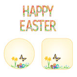 Buttons Happy easter spring flowers daffodil with butterfly  and Easter eggs vector. Buttons Happy easter spring flowers daffodils with butterfly and Easter eggs Stock Photo
